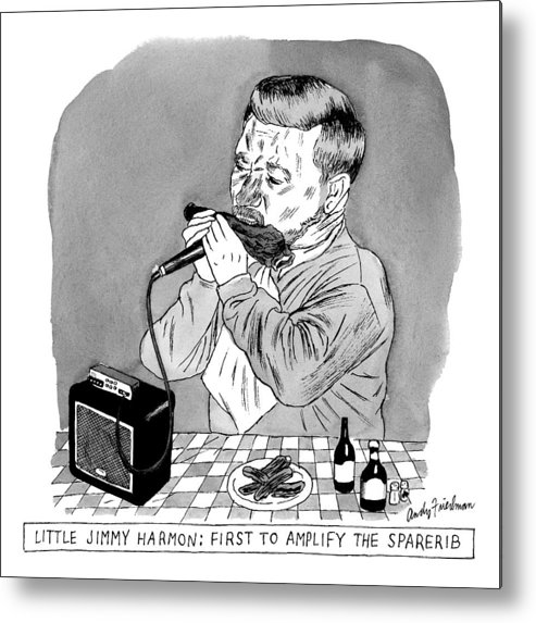Jimmy Harmon: First To Amplify The Spare Rib. Spare Ribs Metal Print featuring the drawing A Man Sits At A Table In Front Of A Plate Of Ribs by Andy Friedman