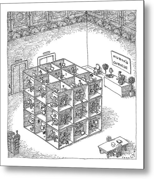 Captionless. Sign: Metal Print featuring the drawing A Rubik's Cube Comprised Of Cubicles With Workers by John O'Brien