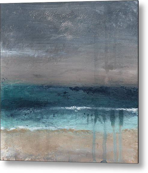 Abstract Landscape Metal Print featuring the painting After The Storm- Abstract Beach Landscape by Linda Woods