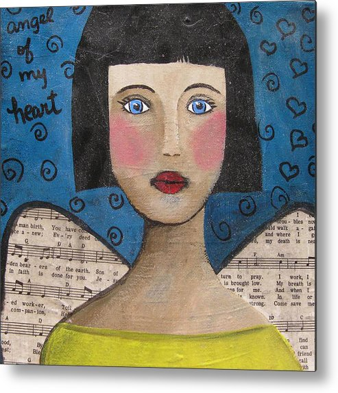 Folkart Metal Print featuring the painting Angel Of My Heart by Ana Paula