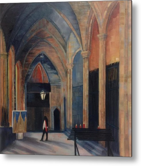 Oil Metal Print featuring the painting At The Barcelona Cathedral by Linda Scott