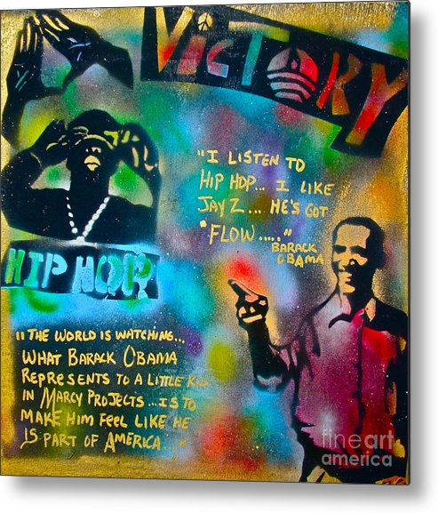 Barack Obama Metal Print featuring the painting Barack And Jay Z by Tony B Conscious