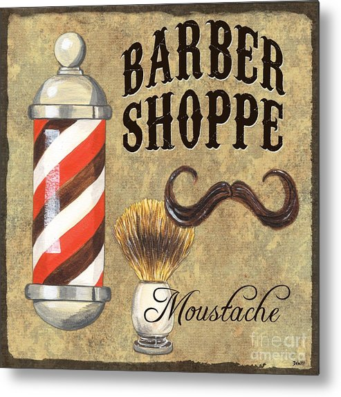Fashion Metal Print featuring the painting Barber Shoppe 1 by Debbie DeWitt