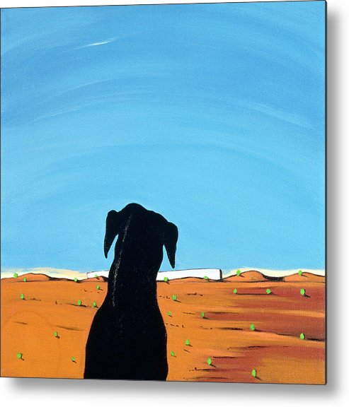 Landscape Metal Print featuring the painting Black Dog In Chestertown, 1998 by Marjorie Weiss