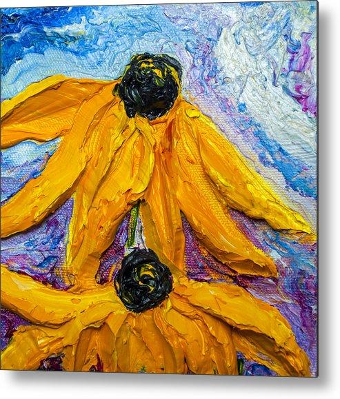 Black Eye Susan Paintings Metal Print featuring the painting Black Eyed Susie's by Paris Wyatt Llanso