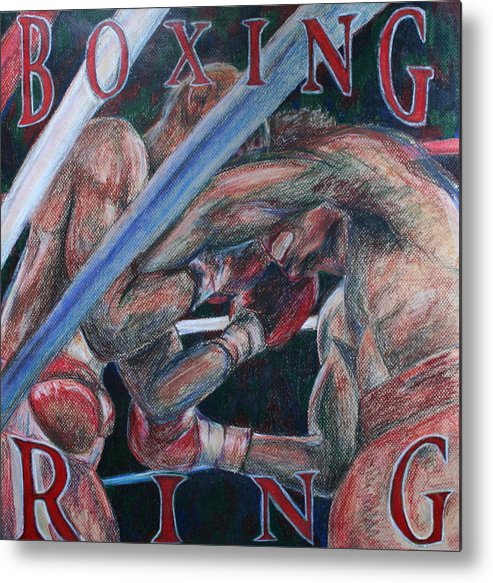 Boxing Metal Print featuring the drawing Boxing Ring by Kate Fortin
