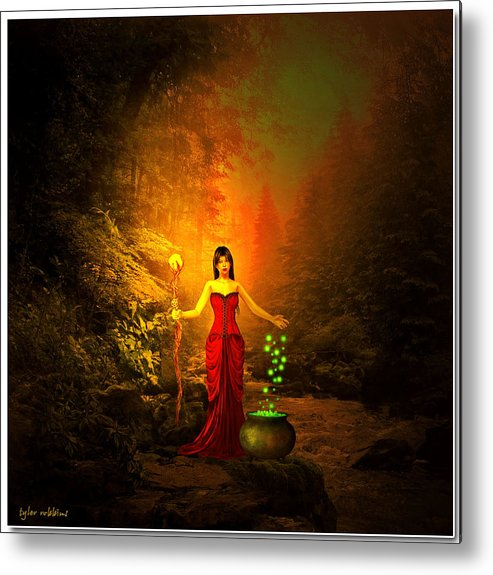 Witch Metal Print featuring the painting Brewing Something Up by Tyler Robbins
