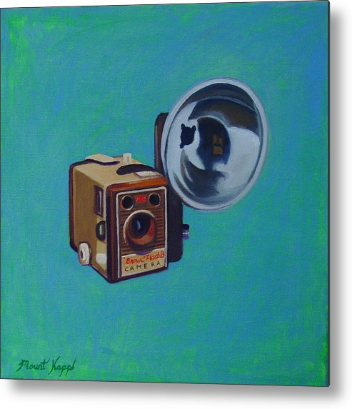 Vintage Metal Print featuring the painting Brownie Box Camera by The Vintage Painter