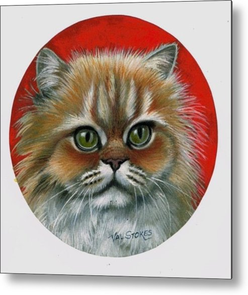 Cat Metal Print featuring the painting Candy by Val Stokes