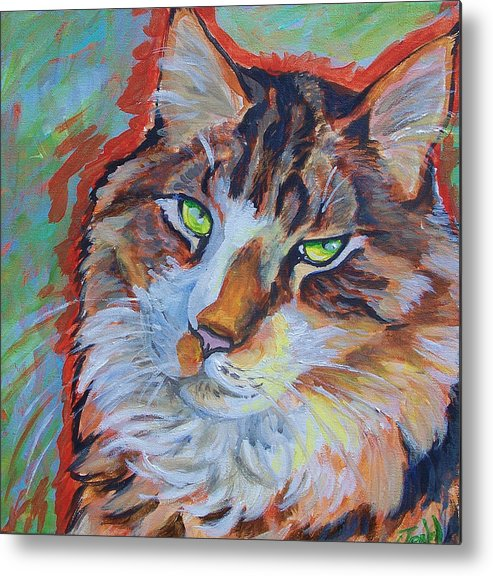 Cat Metal Print featuring the painting Cat Commission by Jenn Cunningham
