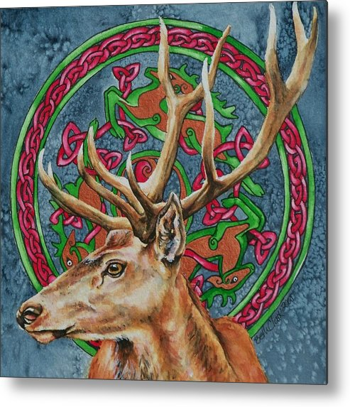 Celtic Metal Print featuring the painting Celtic Stag by Beth Clark-McDonal