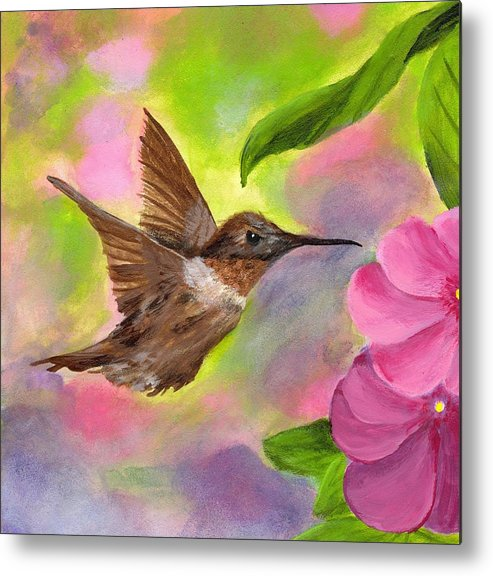 Hummingbird Metal Print featuring the painting Connie's Hummingbird by Wanda Pepin