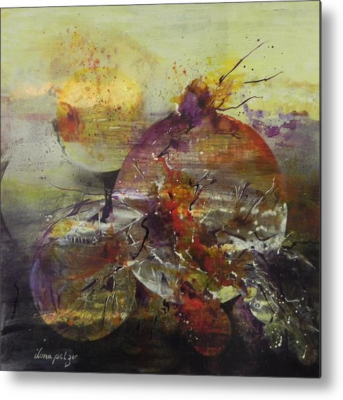 Cosmos Metal Print featuring the painting Cosmic Storm by Ilona Petzer