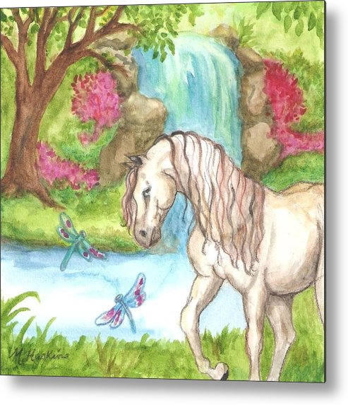 White Horse Metal Print featuring the painting Dragonfly Days by Martha Haskins