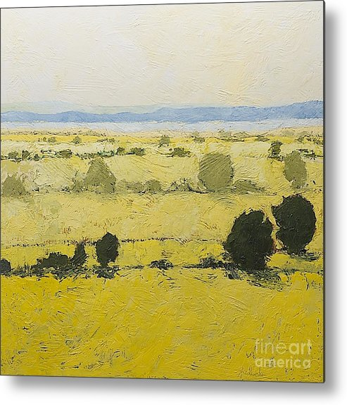 Landscape Metal Print featuring the painting Dry Grass by Allan P Friedlander