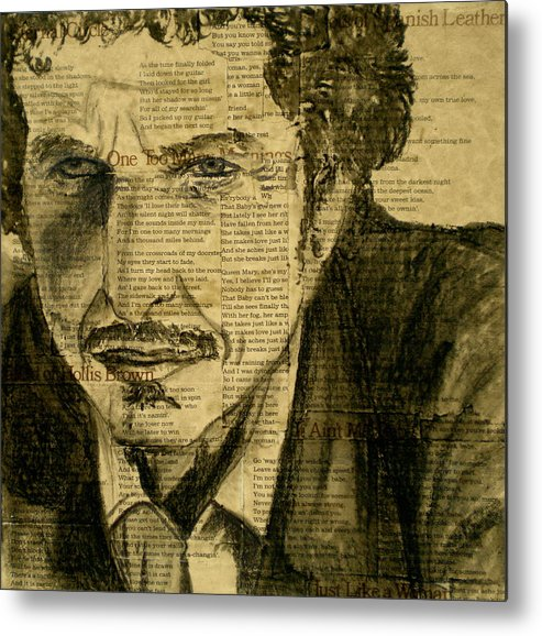 Dylan The Poet Metal Print featuring the drawing Dylan The Poet by Debi Starr