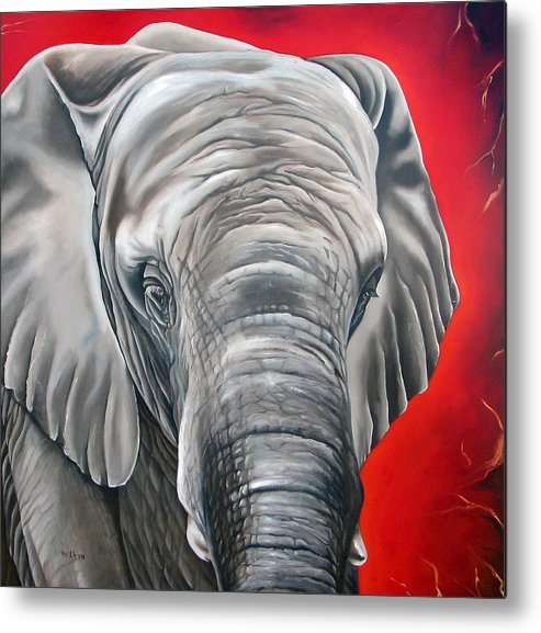 Elephant Metal Print featuring the painting Elephant Six Of Eight by Ilse Kleyn