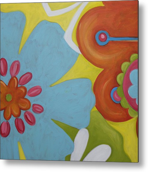 Flowers Metal Print featuring the painting Flowers I by Dee Cunningham