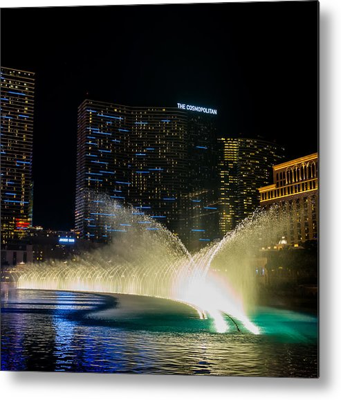 Bellagio Metal Print featuring the pyrography Fountain Spray by Zachary Cox