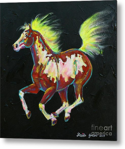 Heart Metal Print featuring the painting Four Of Hearts Pony by Louise Green