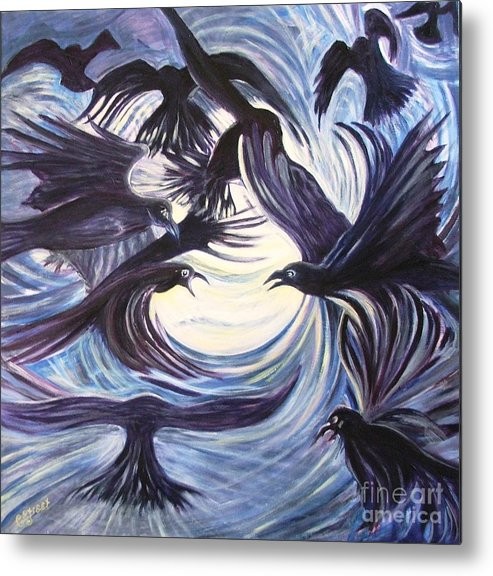 Birds Metal Print featuring the painting Gathering Of The Ravens by Caroline Street