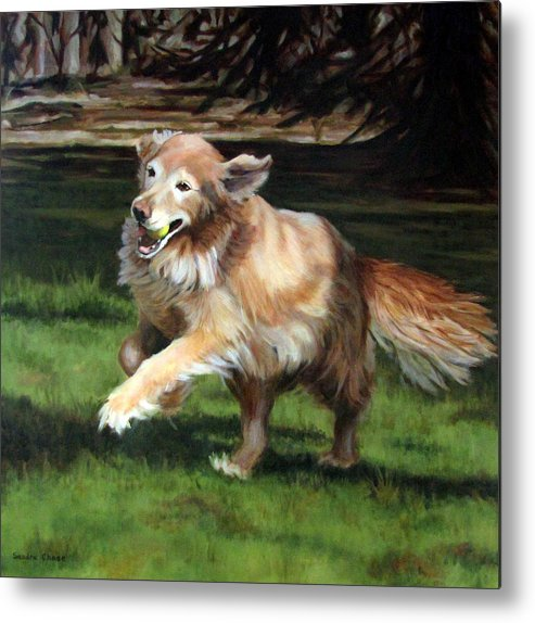 Dog Metal Print featuring the painting Golden Days by Sandra Chase