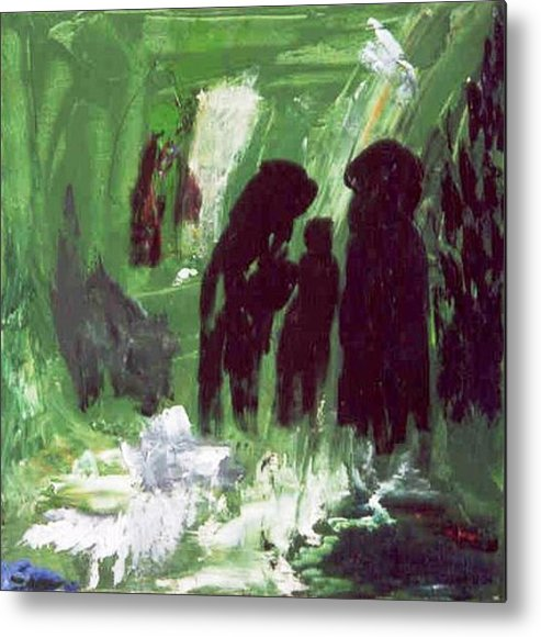 Abstract Metal Print featuring the painting Green Water Rite by Bruce Combs - REACH BEYOND