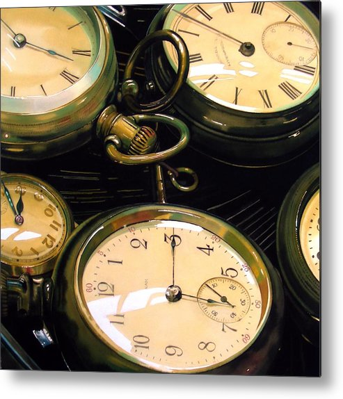 Clocks Metal Print featuring the painting Guardians Of Time by Denny Bond
