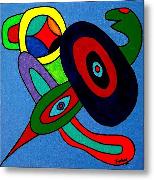 Baby Blue Background Supporting Gumbo The Thing With Wings And A Strange Head And Some Wild And Crazy Colors.....this Is For Kids.......and Gumbo Has Wings?  Metal Print featuring the painting Gumbo by Jim Furlong