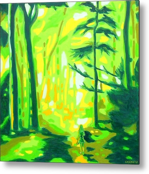 Landscape Metal Print featuring the painting Hazy Sunny Forest by Casoni Ibolya