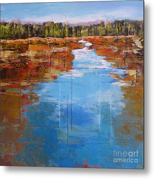 Landscape Metal Print featuring the painting Heading West No. 5 by Melody Cleary