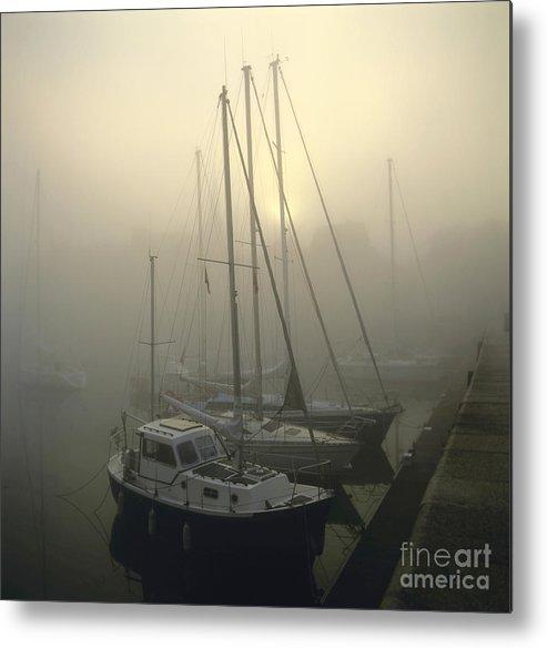 The Metal Print featuring the photograph Honfleur Harbour In Fog. Calvados. Normandy by Bernard Jaubert