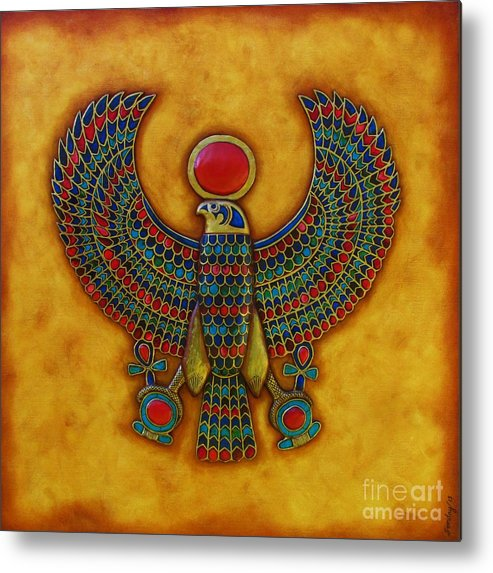 Horus Metal Print featuring the mixed media Horus by Joseph Sonday