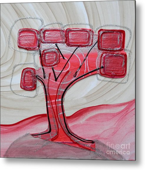 Hand Painted Acrylic Metal Print featuring the painting Hot Pink Geom Tree by L Cecka
