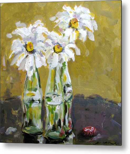 White Metal Print featuring the painting Hue Of A Daisy by Susan Elizabeth Jones