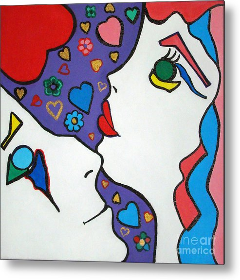 Pop-art Metal Print featuring the painting In Love by Silvana Abel