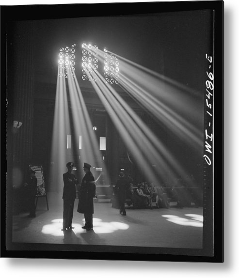 Old Photo Metal Print featuring the photograph In The Waiting Room At Chicago Union Station by Historic Photos