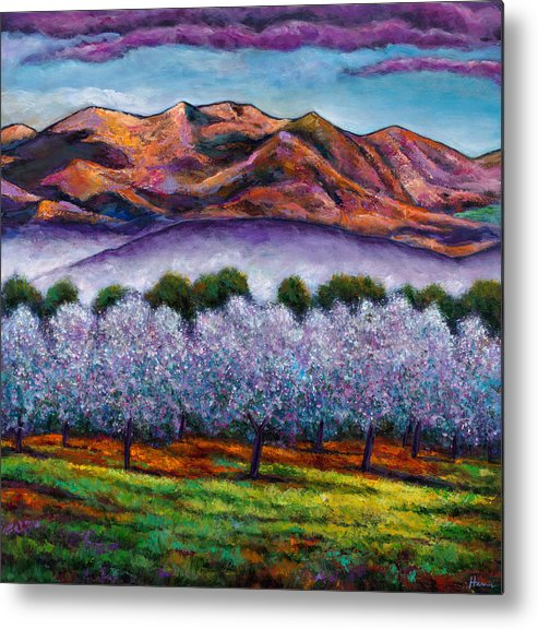 Landscape Metal Print featuring the painting Italian Orchard by Johnathan Harris