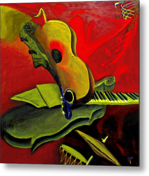 Abstract Metal Print featuring the painting Jazz Infusion by Fli Art