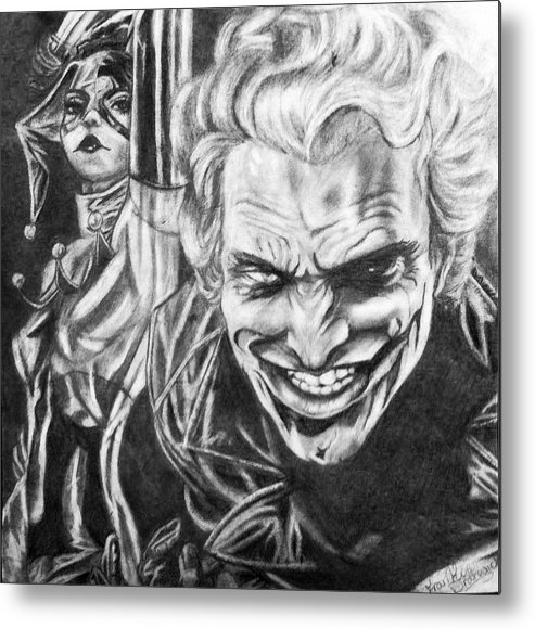 Drawing Metal Print featuring the drawing Joker And Harley Quinn by Frankie Dratviki