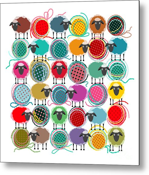 Wool Metal Print featuring the digital art Knitting Yarn Balls And Sheep Abstract by Popmarleo