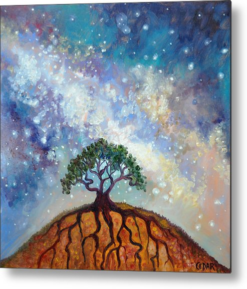 Cedar Lee Painter Metal Print featuring the painting Lone Tree And Milky Way by Cedar Lee