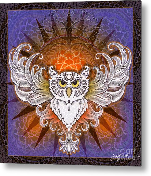 Owl Metal Print featuring the mixed media Mandala Owl by Julie Oakes