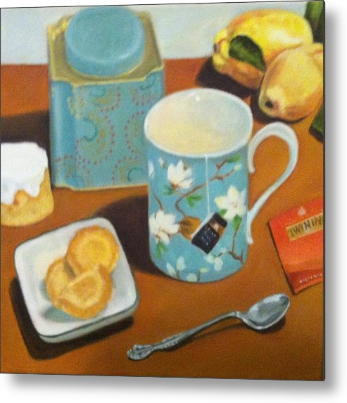 Still Life Metal Print featuring the painting Morning Tea by Deanne Salter