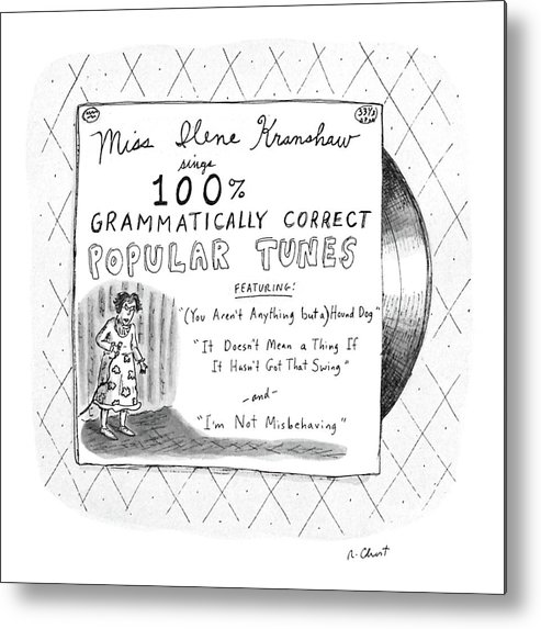 No Caption Drawing Depicts Album Cover Of  No Caption Drawing Depicts Album Cover Of Language Metal Print featuring the drawing New Yorker September 5th, 1988 by Roz Chast