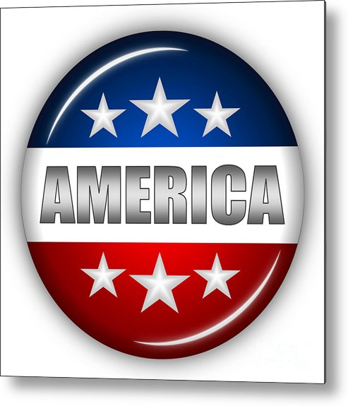 American Flag Metal Print featuring the digital art Nice America Shield by Pamela Johnson