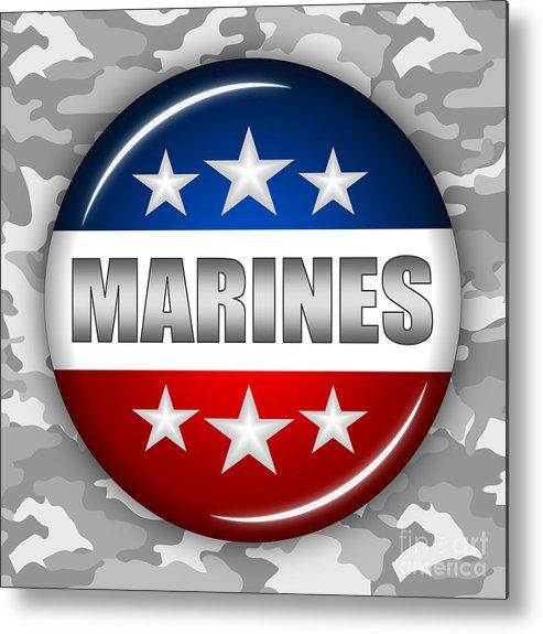 Marines Metal Print featuring the digital art Nice Marines Shield 2 by Pamela Johnson