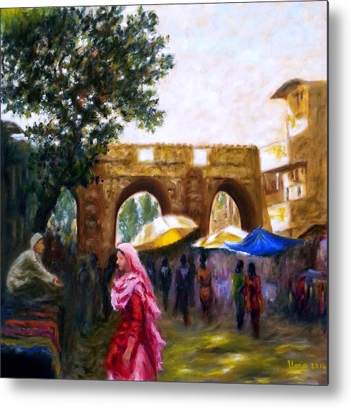 Old City Metal Print featuring the painting Old City Ahmedabad Series 6 by Uma Krishnamoorthy
