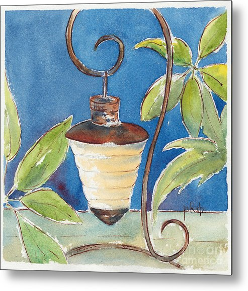 Impressionism Metal Print featuring the painting Pausegarden Night Light by Pat Katz