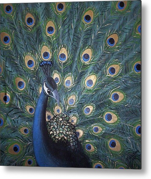 Peacock Metal Print featuring the painting Peacock by Joan Stratton
